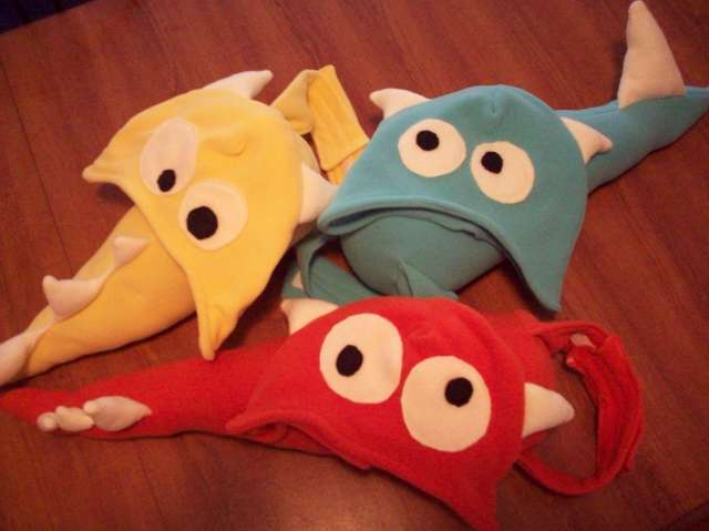 Completed monster hats and tails for 3 more nephews
